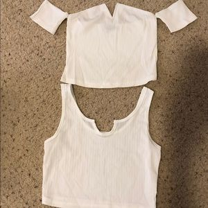 NWT white crop tops, size small